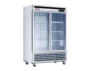 2 door glass refrigerator