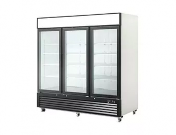 3 door glass refrigerator